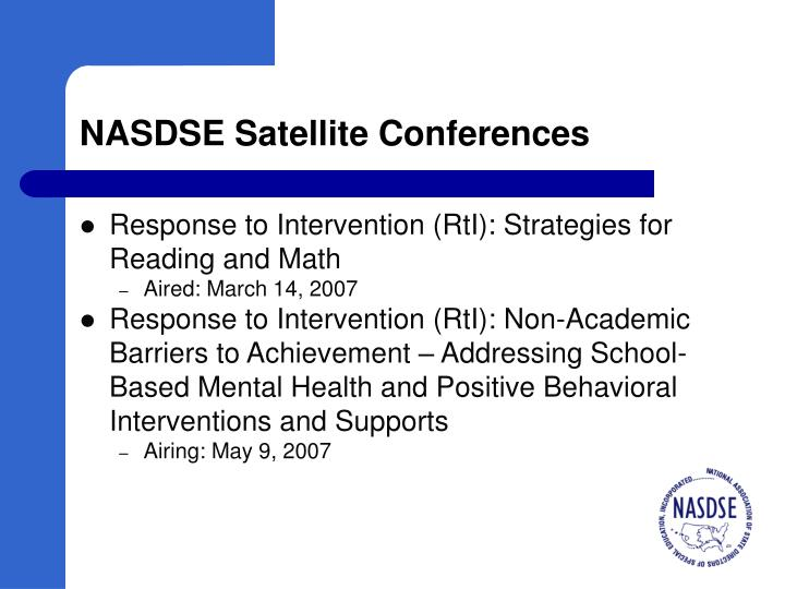 NASDSE Satellite Conferences