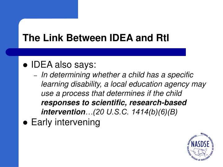 The Link Between IDEA and RtI