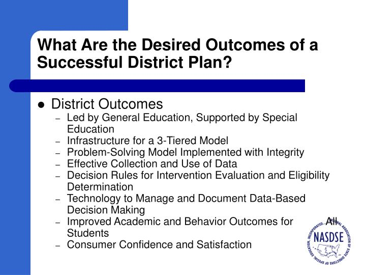 What Are the Desired Outcomes of a Successful District Plan?