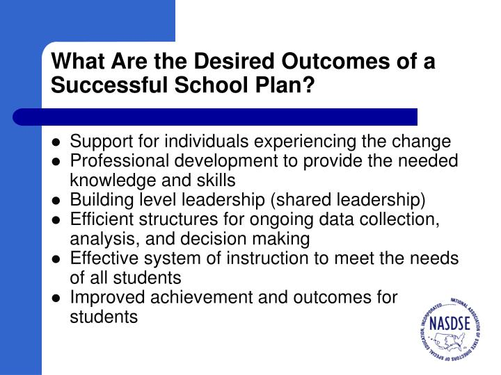 What Are the Desired Outcomes of a Successful School Plan?