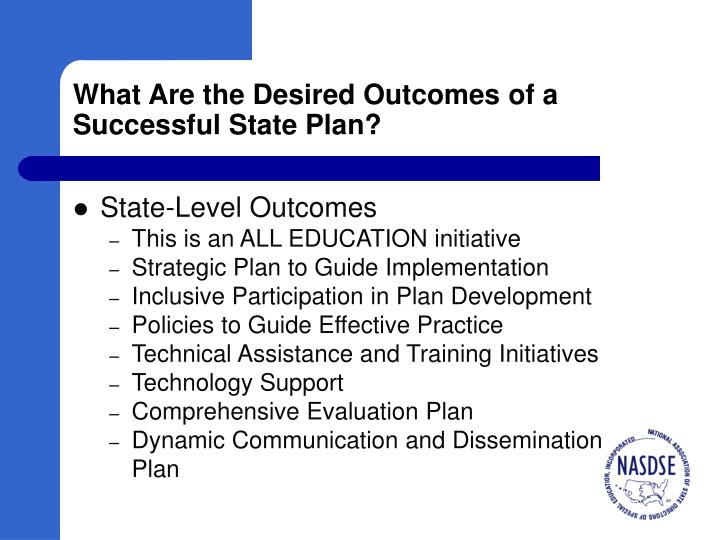 What Are the Desired Outcomes of a Successful State Plan?