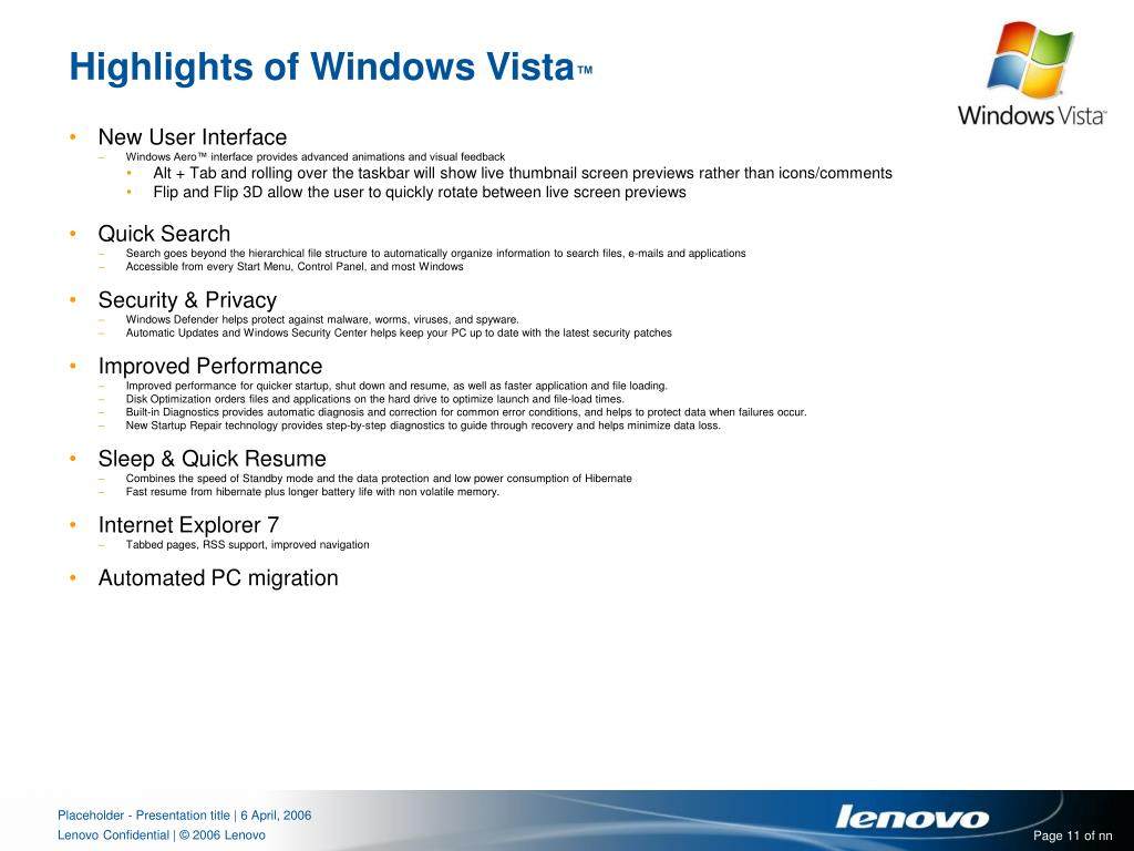 Highlights of Windows Vista