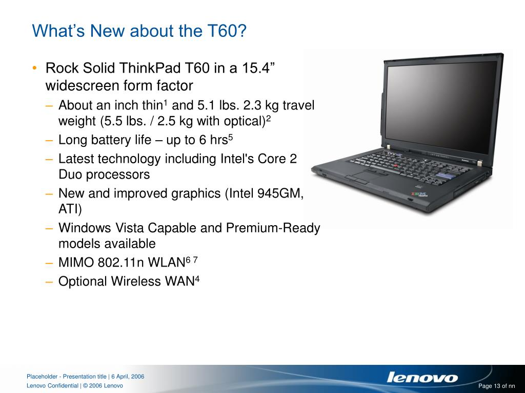 What's New about the T60?