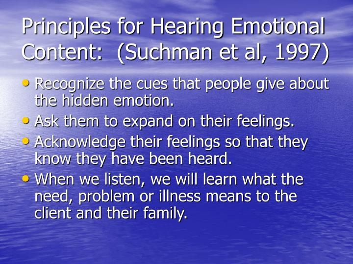 Principles for Hearing Emotional Content:  (Suchman et al, 1997)