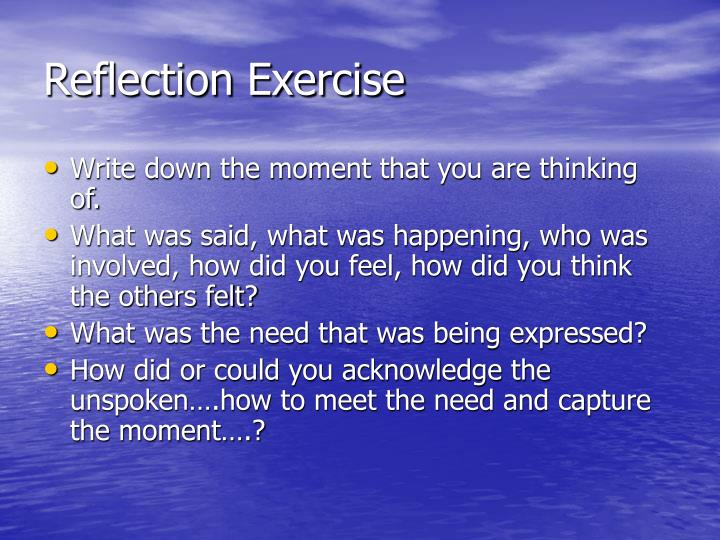 Reflection Exercise