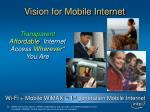 vision for mobile internet
