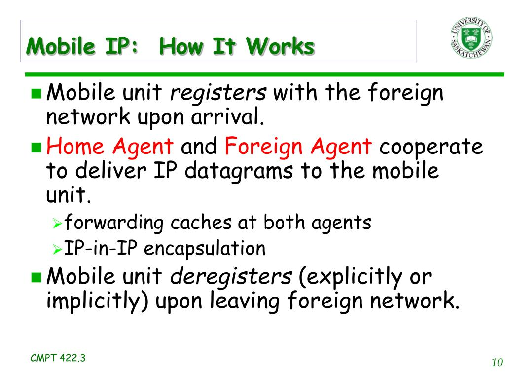 Mobile IP:  How It Works