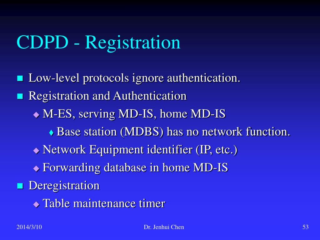 CDPD - Registration