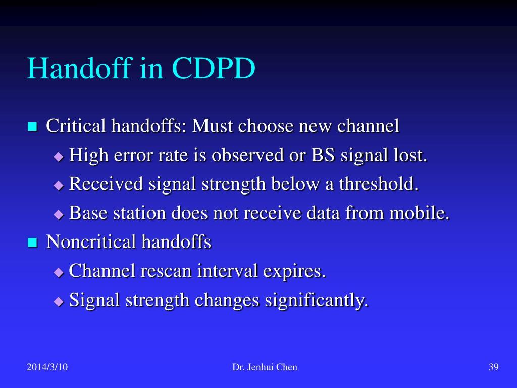 Handoff in CDPD