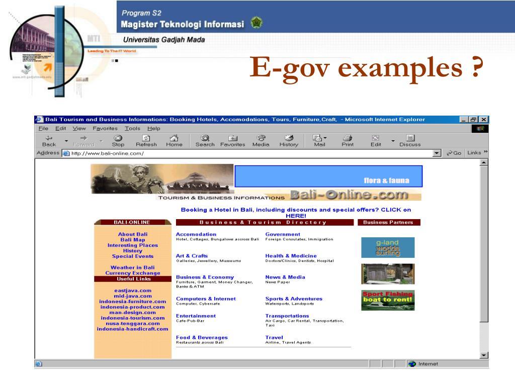 E-gov examples ?