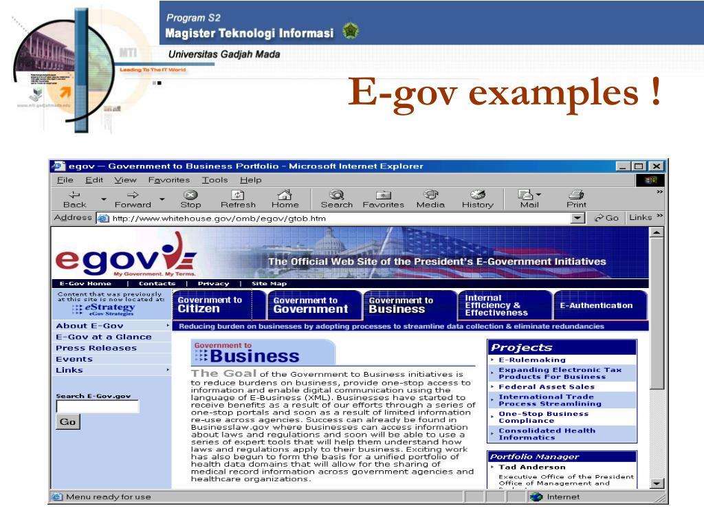 E-gov examples !