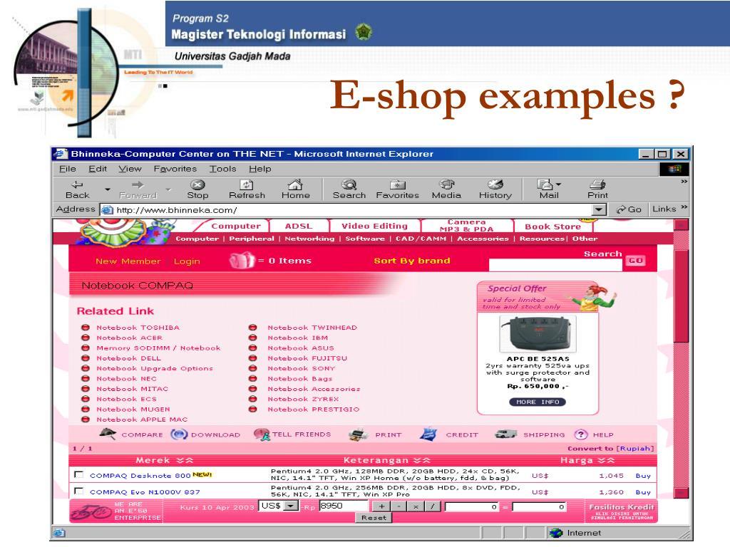 E-shop examples ?
