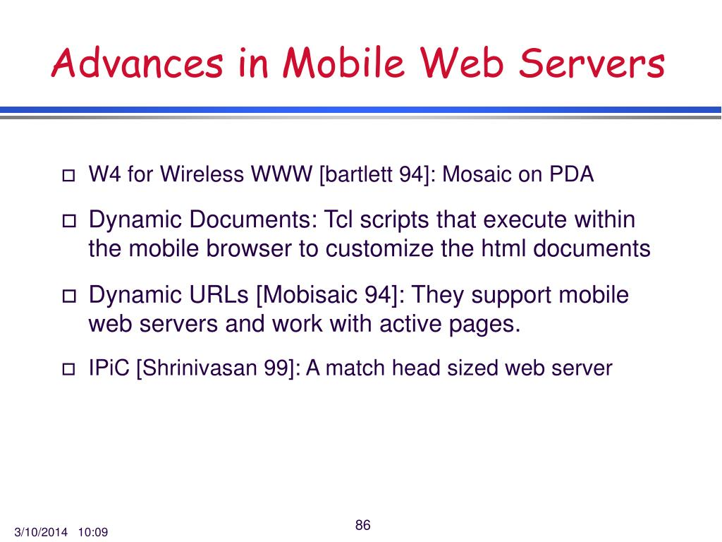 Advances in Mobile Web Servers