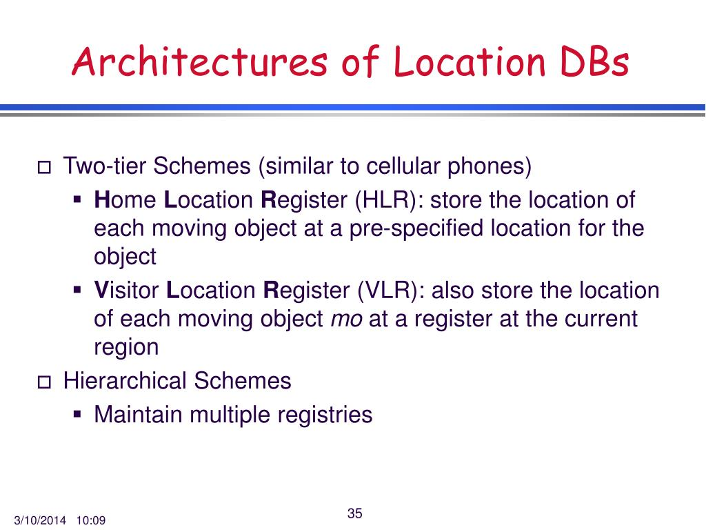 Architectures of Location DBs