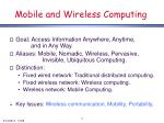 mobile and wireless computing