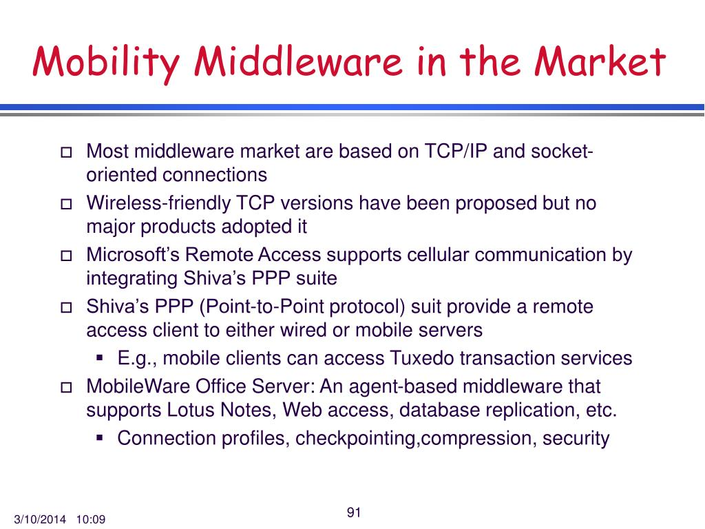 Mobility Middleware in the Market