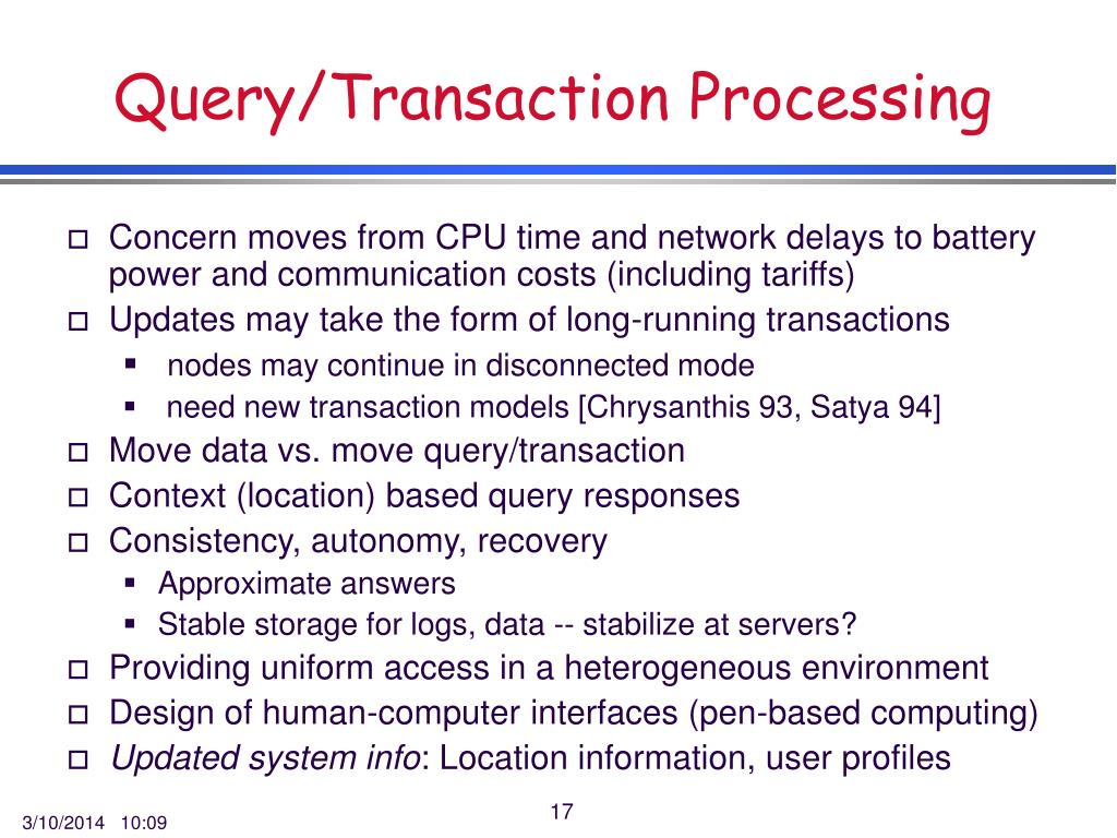 Query/Transaction Processing