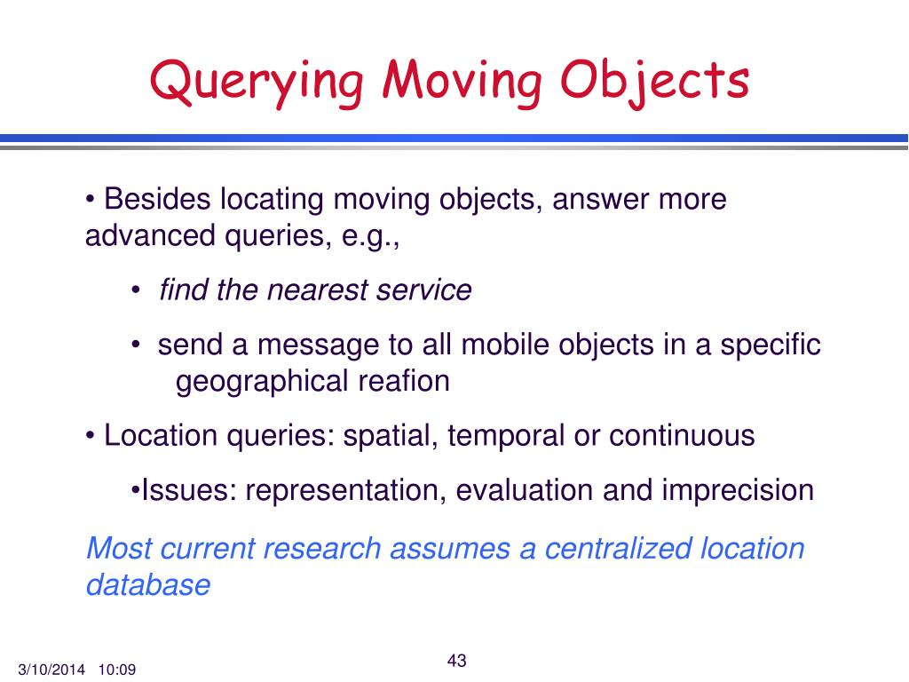 Querying Moving Objects