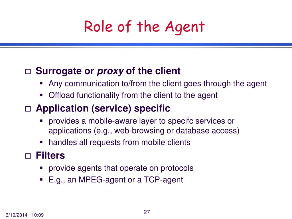 Role of the Agent