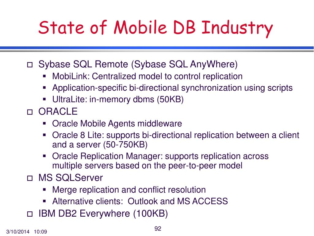 State of Mobile DB Industry