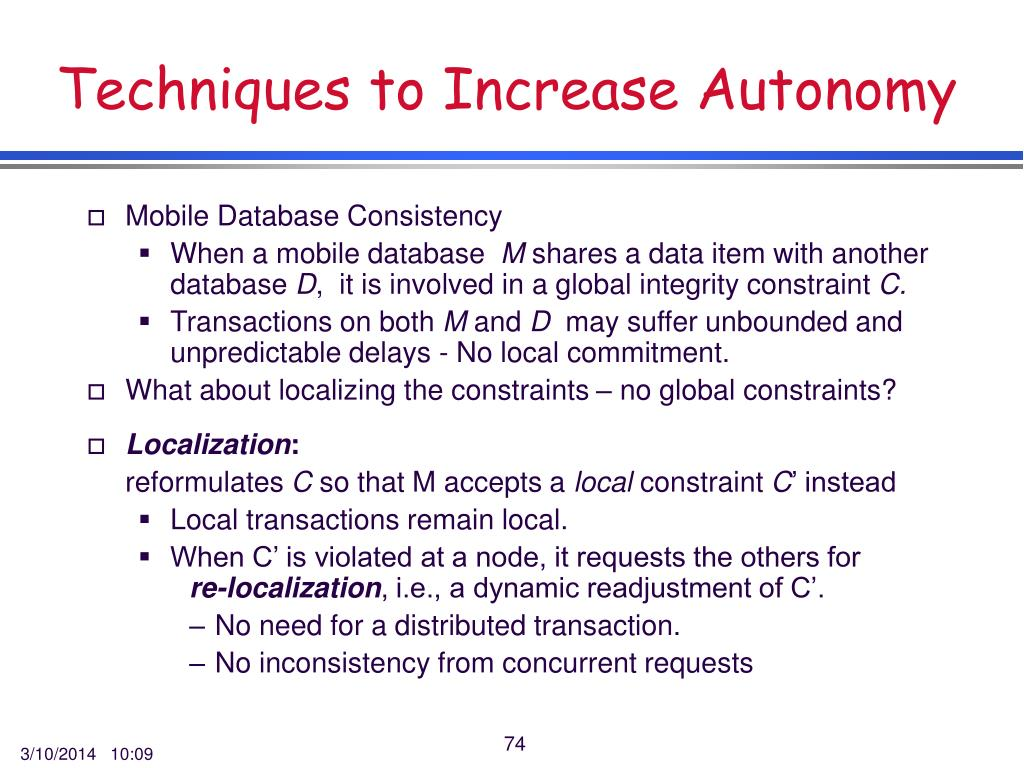 Techniques to Increase Autonomy