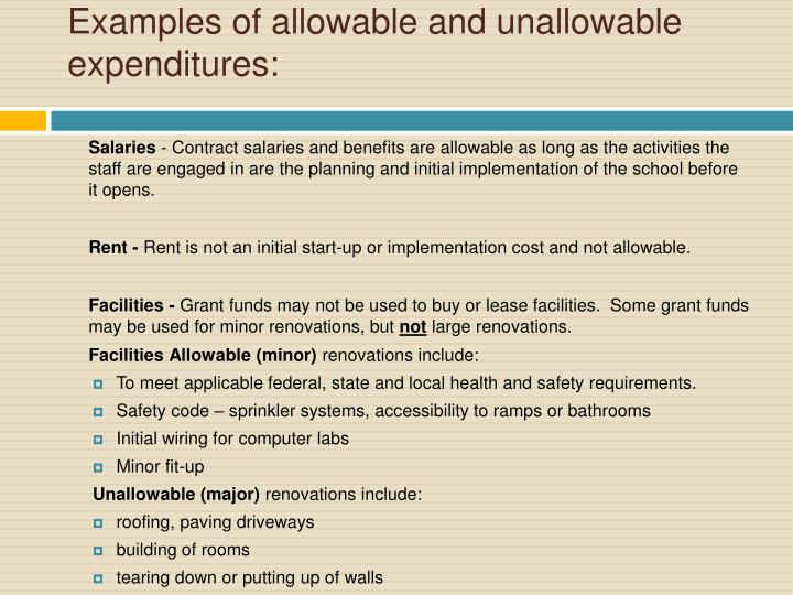 Examples of allowable and unallowable expenditures: