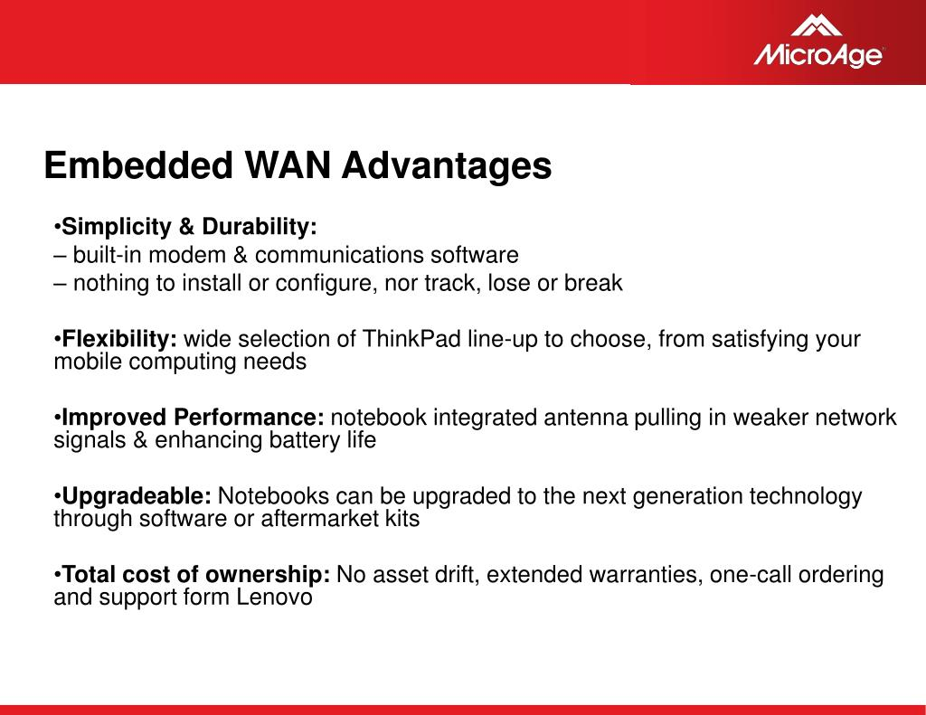 Embedded WAN Advantages