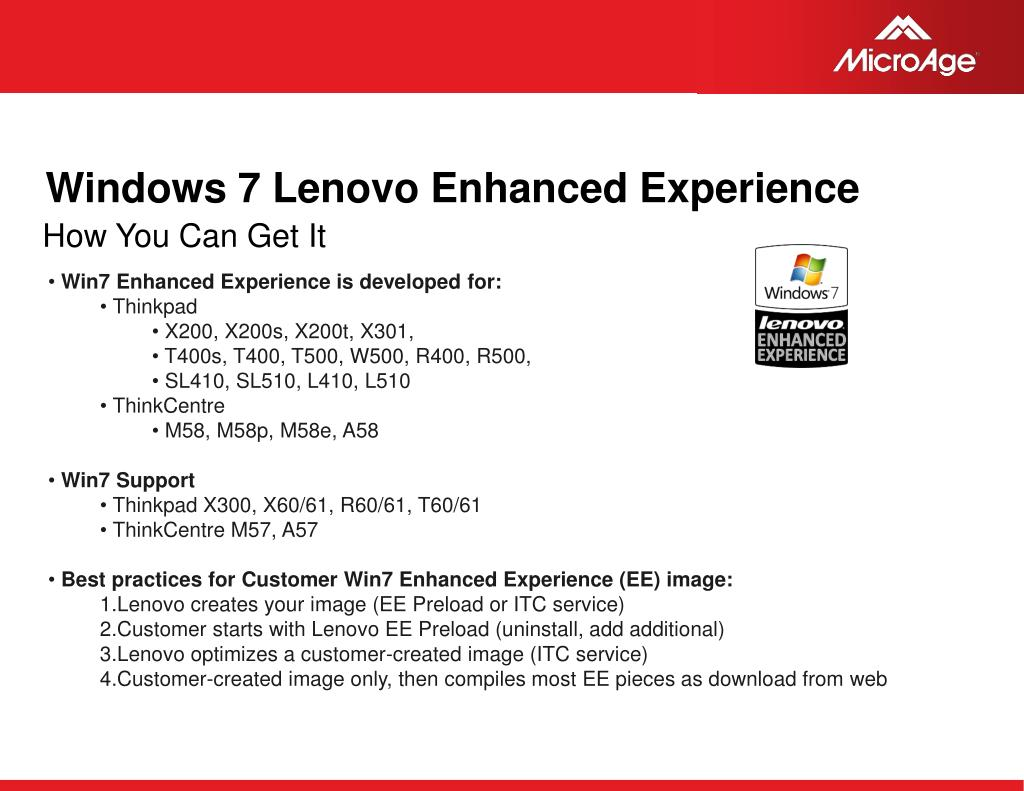 Windows 7 Lenovo Enhanced Experience