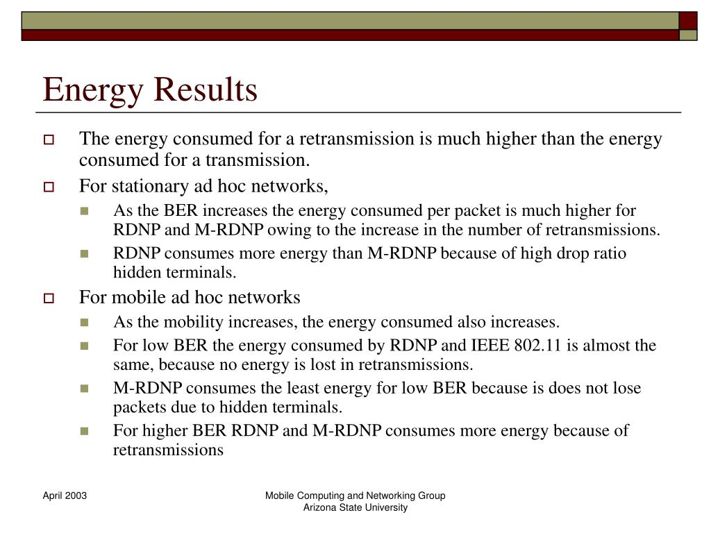 Energy Results