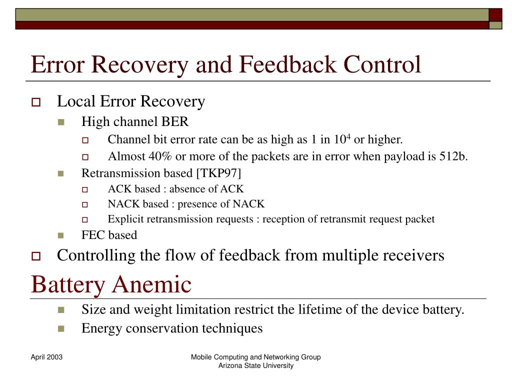 Error Recovery and Feedback Control
