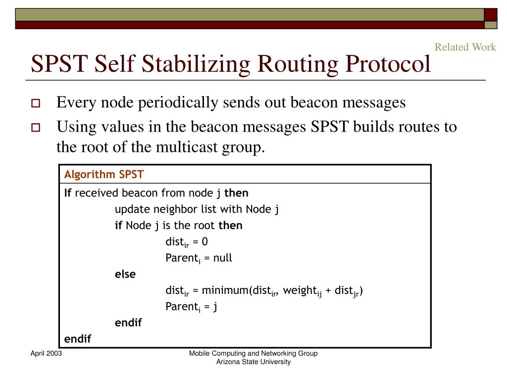 SPST Self Stabilizing Routing Protocol