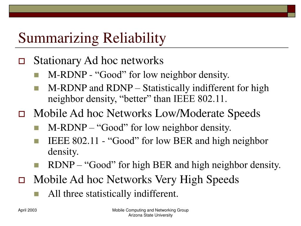 Summarizing Reliability