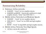 summarizing reliability