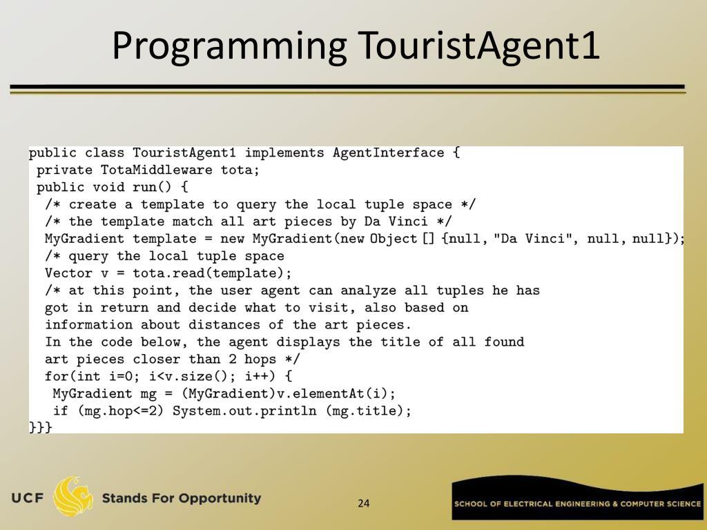 Programming TouristAgent1