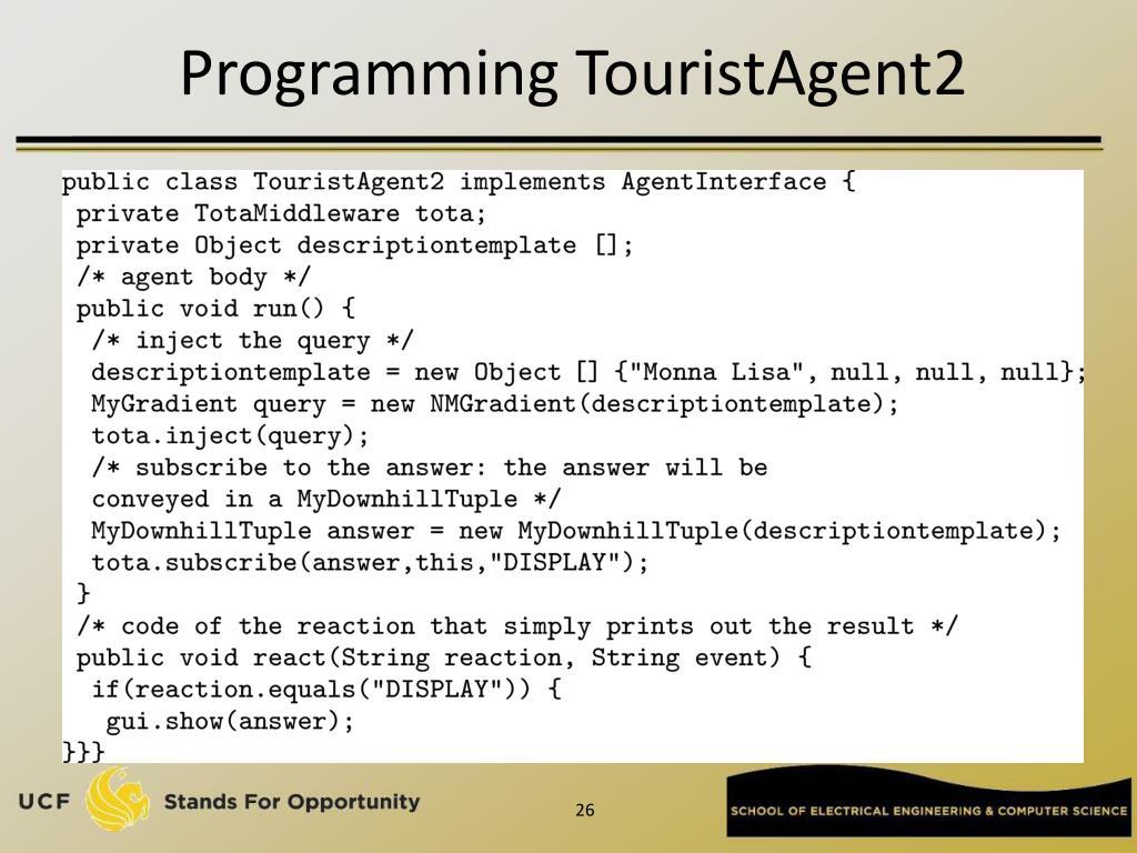 Programming TouristAgent2