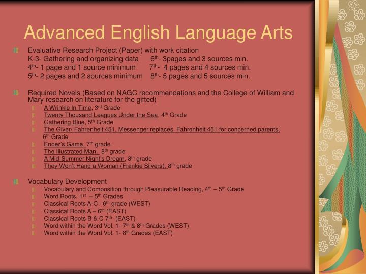 Advanced English Language Arts