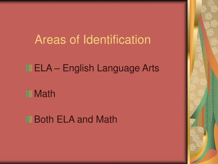 Areas of Identification