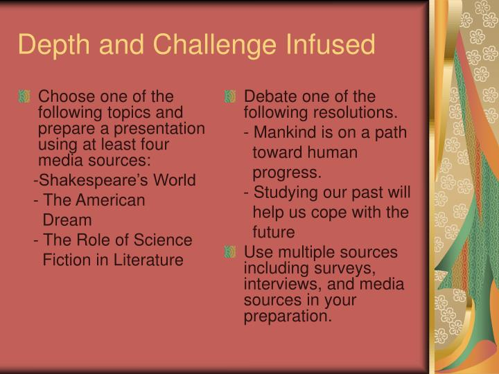 Choose one of the following topics and prepare a presentation using at least four media sources: