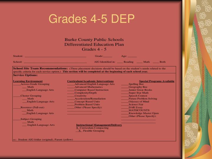 Grades 4-5 DEP