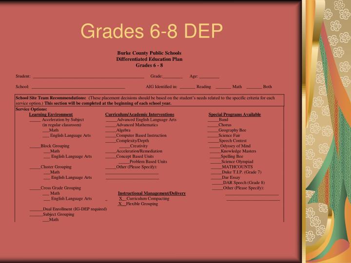 Grades 6-8 DEP