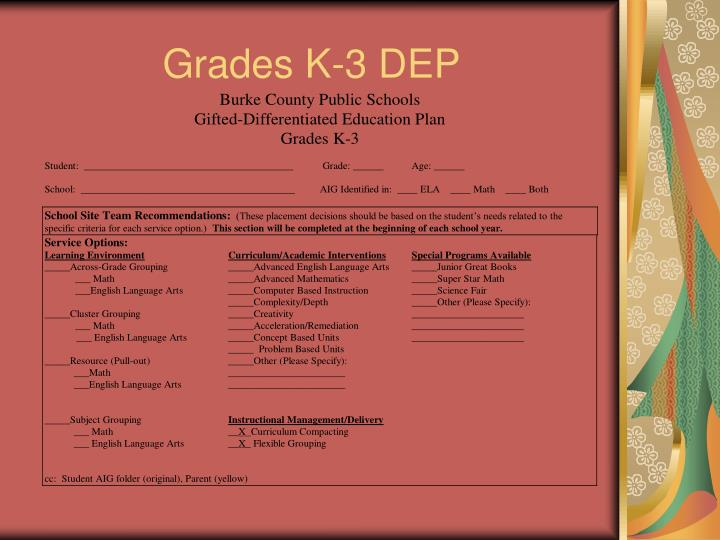 Grades K-3 DEP