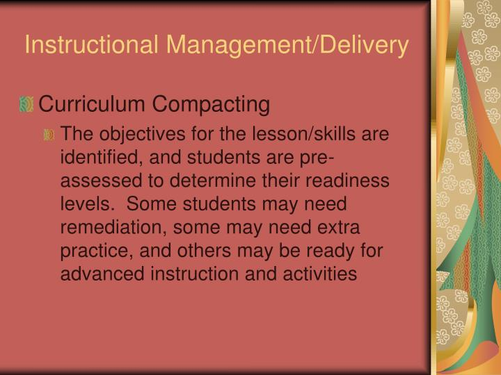 Instructional Management/Delivery
