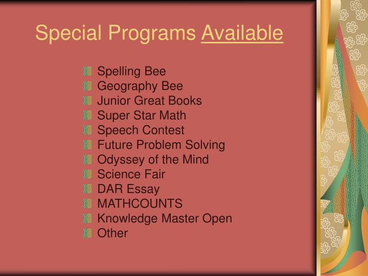 Special Programs