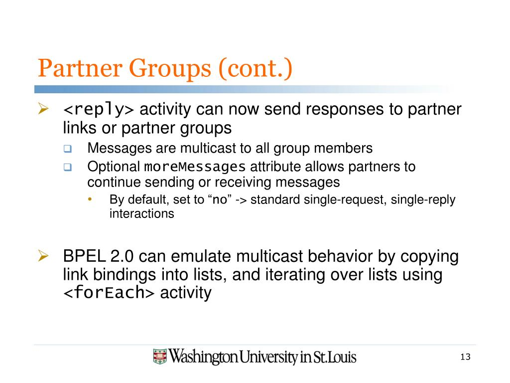Partner Groups (cont.)