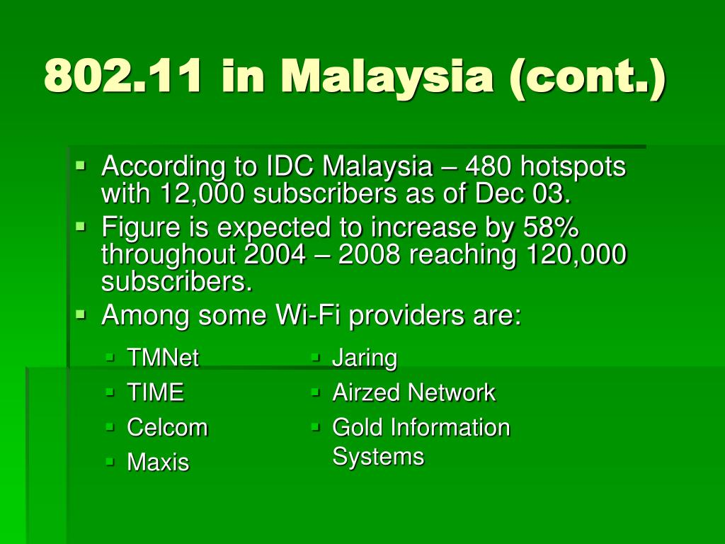 According to IDC Malaysia – 480 hotspots with 12,000 subscribers as of Dec 03.