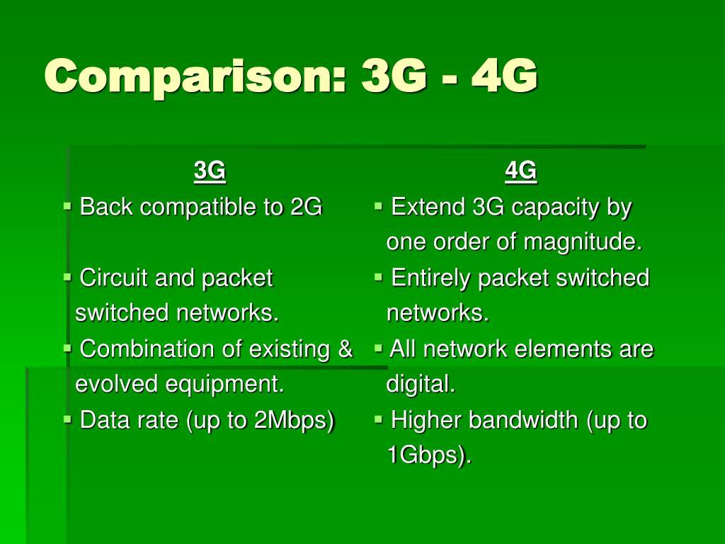 Comparison: 3G - 4G