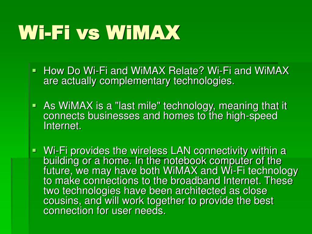 Wi-Fi vs WiMAX