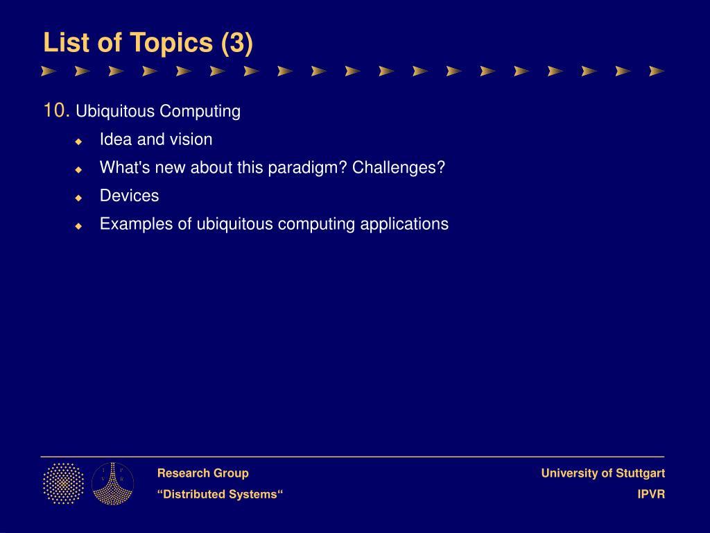 List of Topics (3)