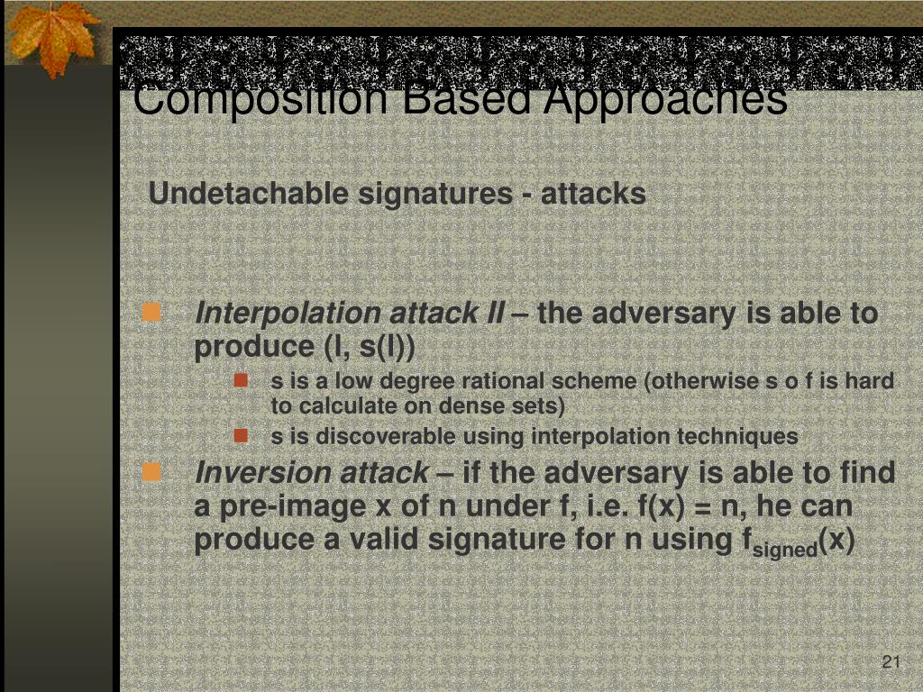 Undetachable signatures - attacks