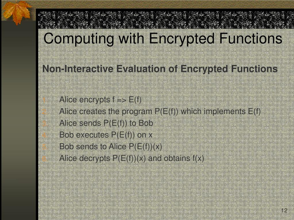 Non-Interactive Evaluation of Encrypted Functions